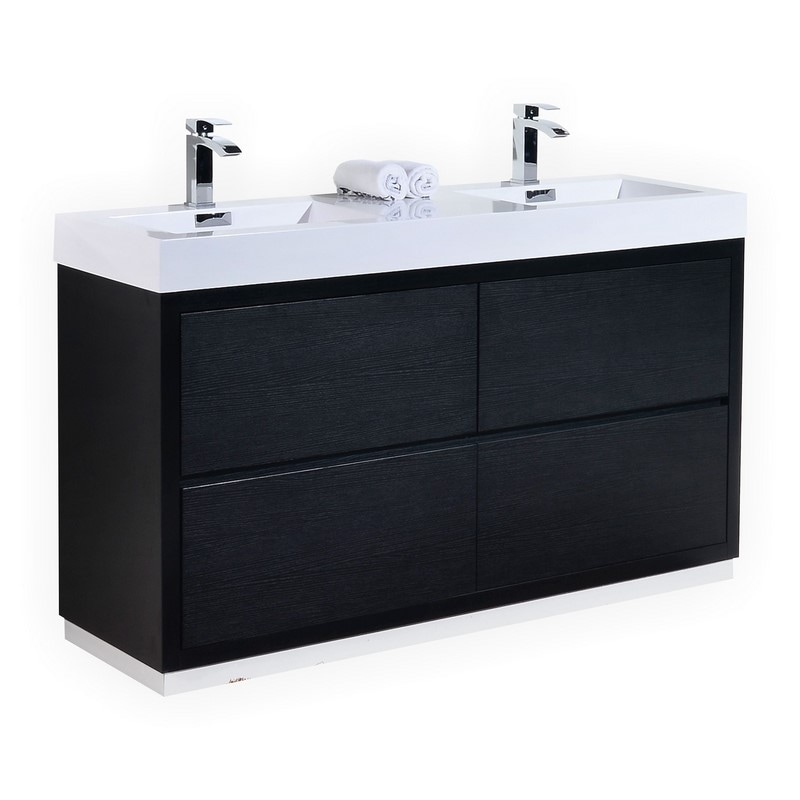60 inch Double Sink Black Finish Free Standing Modern Bathroom Vanity