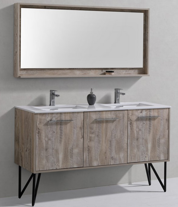 60 inch Nature Wood Double Sink Bathroom Vanity
