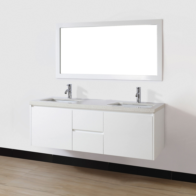 60 inch Wall Mounted Modern Double Sink Bathroom Vanity