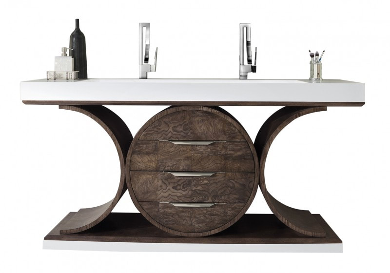 73 inch Modern Rustic Bathroom Vanity Ash Eclipse Finish Sink Top