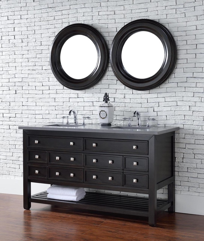 60 inch Espresso Double Sink Transitional Bathroom Vanity Stone Countertop