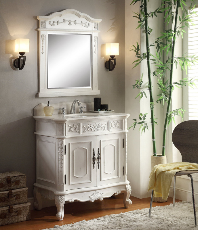 33 inch Antique White Single Sink Bathroom Vanity - Antique Bathroom Vanities And Mirrors - Bathroom Vanities