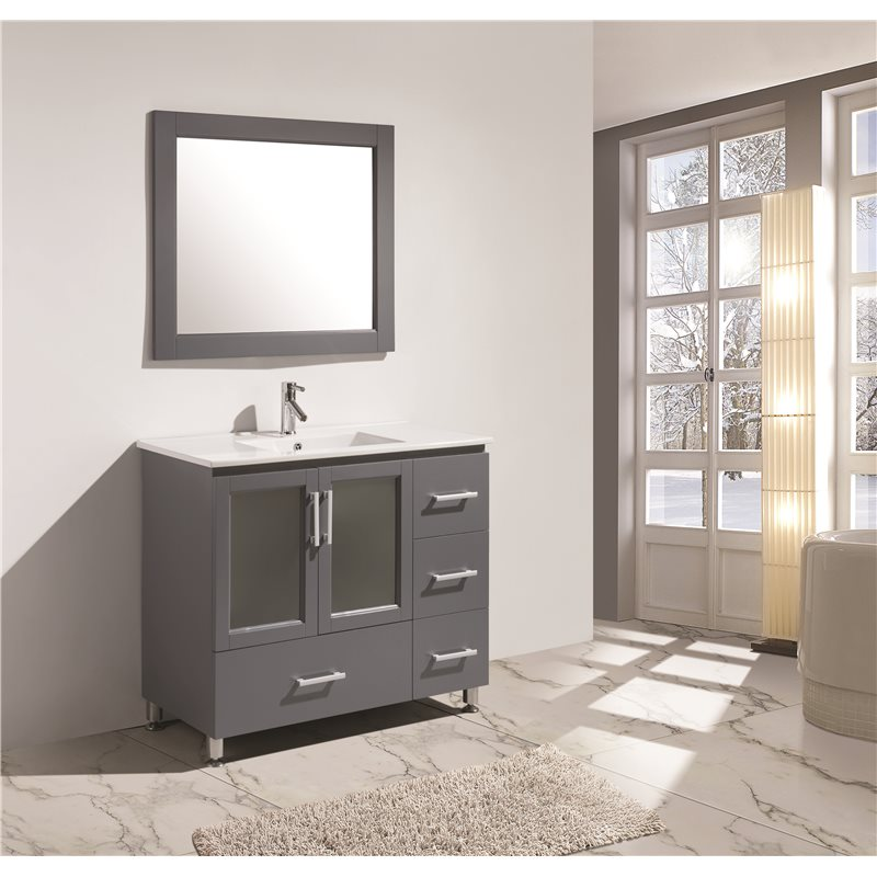 40 inch Contemporary Single Sink Bathroom Vanity Set in Gray Finish