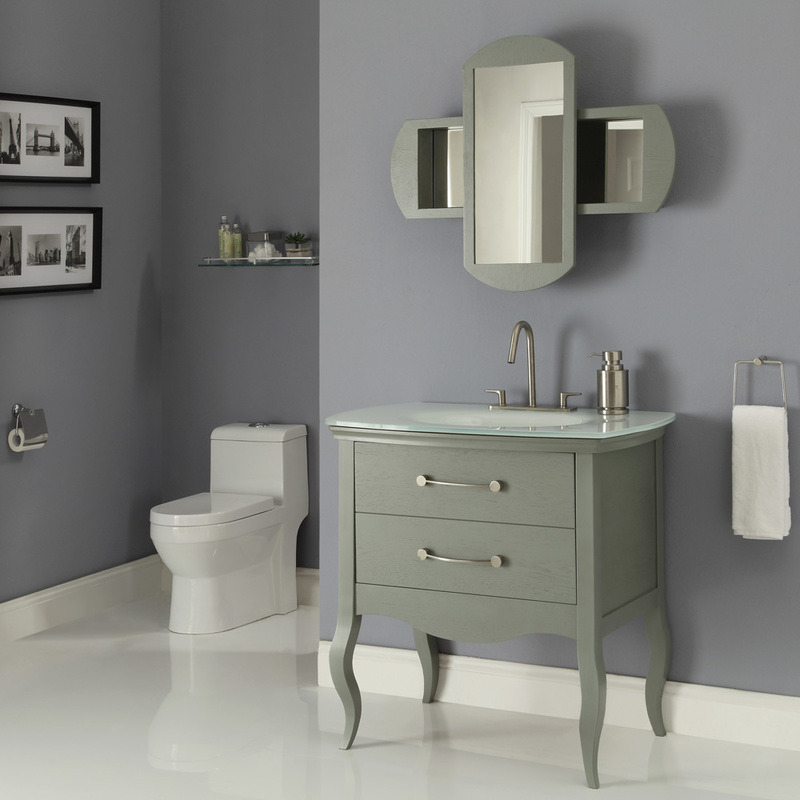 Art Deco 37 inch Modern Slate Bathroom Vanity