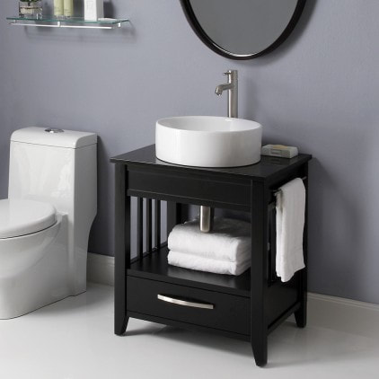 24 inch Black Bathroom Vanity Black Granite Countertop