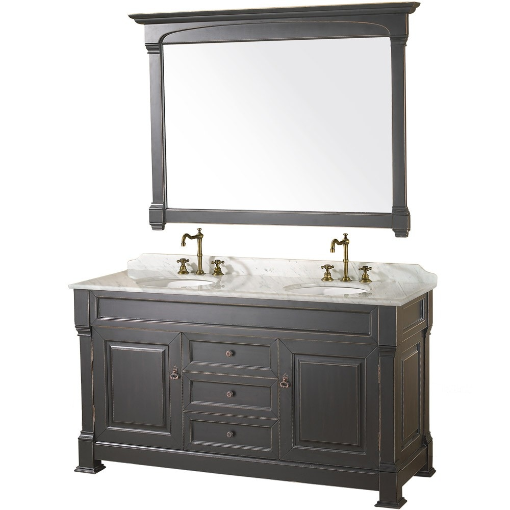60 inch Bathroom Vanity Black Finish Solid Marble Counter
